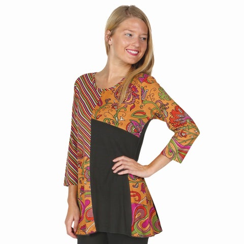 Women's Tunic Top - Geometric Print 3/4 Sleeve Patchwork Shirt