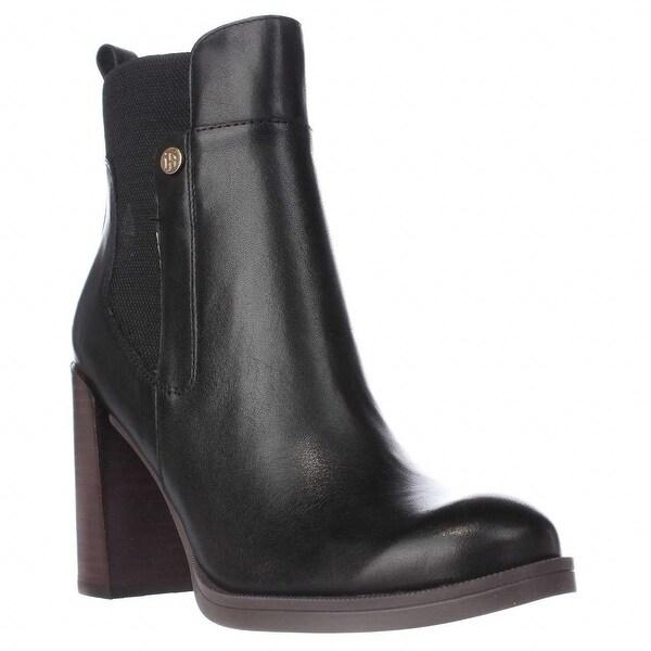 2bf3e827 Shop Tommy Hilfiger Britton Block Heel Ankle Boots, Black Multi ...