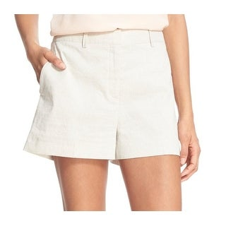 Theory NEW Beige Natural Women's Size 8 Calila Linen Flat Front Shorts