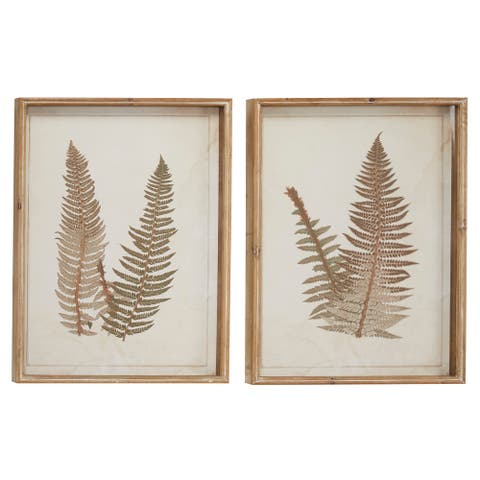"""Large Vintage Style Fern Shadow Boxes Wall Art Set of 2 19"""" x 25.5"""" Each"""