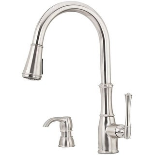 Pfister GT529-WH1  Wheaton 1.8 GPM Pull-Down Kitchen Faucet with Escutcheon Plate and Soap Dispenser