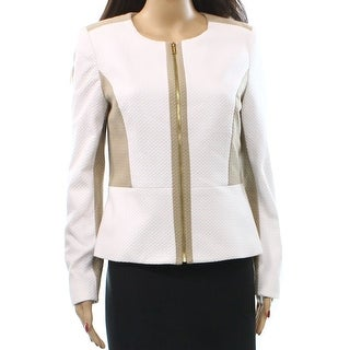 Calvin Klein NEW White Women's Size 14 Colorblock Textured Jacket