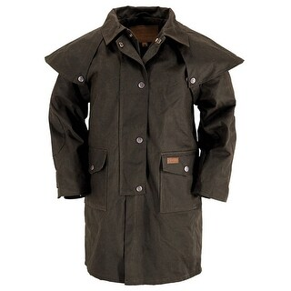 Outback Trading Duster Kids Childrens Snaps Oilskin Brown 2602