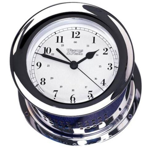 """8"""" Silver and White Traditional Round Shaped Desk Clock"""