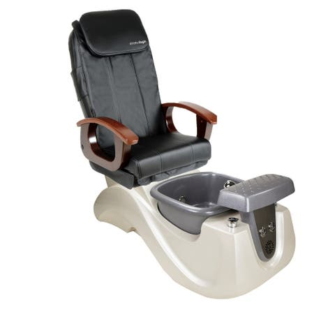 Pedicure Massage Chair SERENITY II White/Silver Tub, PI Full Function Massage Chair, Black Cover Set