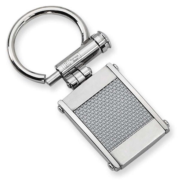 Chisel Stainless Steel and Grey Carbon Fiber Brushed and Polished Key Ring