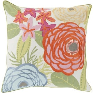 """20"""" May Flowers Orange, Mint Green and Beige Decorative Throw Pillow"""