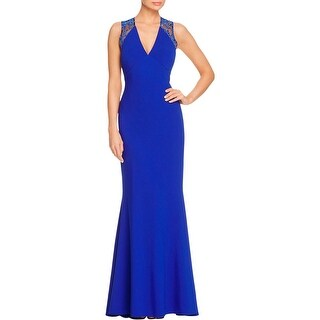 JS Collections Womens Evening Dress V Neck Lace-Trim