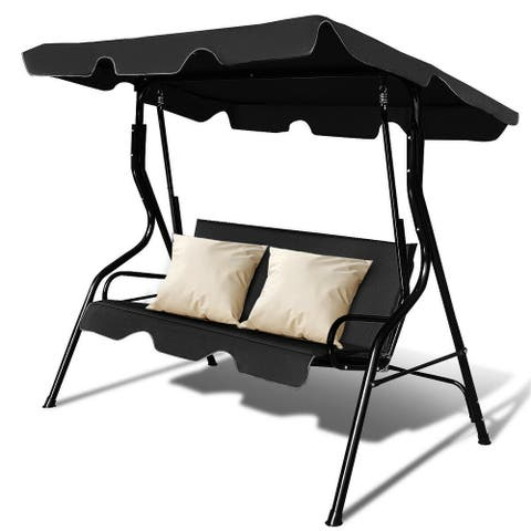 Costway 3 Seats Patio Canopy Swing Glider Hammock Cushioned Steel