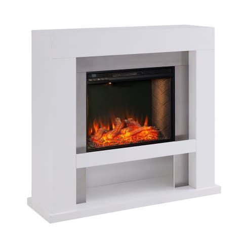 """36.5"""" White and Black Contemporary Fireplace with Alexa Firebox"""