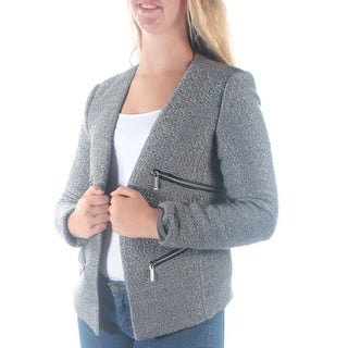 MICHAEL KORS $295 Womens New 1445 Gray Pocketed Textured Suit Open Sweater 8 B+B