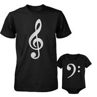 Table Clef Father Shirt And Bass Clef Infant Bodysuit Outfit Set Fathers Day Gift