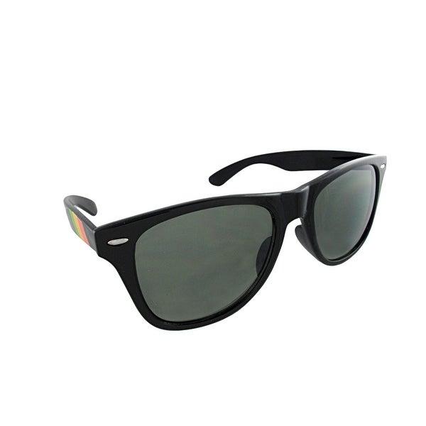 0078bb9cd891c Shop Retro Style 80`s Black Frame Rasta Arm Sunglasses Green Lenses ...