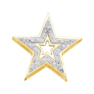 Star Pendant 10K Yellow-gold With Diamonds 0.05 Ctw By MidwestJewellery - White