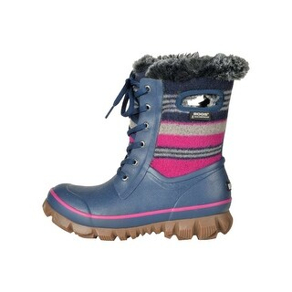 Bogs Girls Arcata Wool Stripe Rubber Ankle Pull On Rain Boots