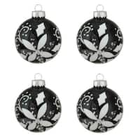 "4ct Shiny Black with White Glitter Flower Design Glass Ball Christmas Ornaments 2.5"" (65mm)"