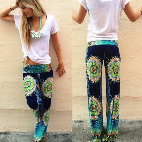 Women's Fashion Soft Floral Printed Pants Loose Elastic High Waist Wide Leg Long Casual Pants Trousers D275
