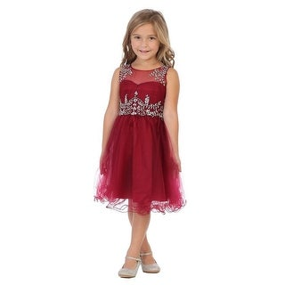 My Best Kids Little Girls Burgundy Stone Accented Flower Girl Dress