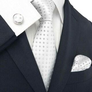 Men's Silver Grey Polka Dots 100% Neck Tie Set With Hanky 1811E