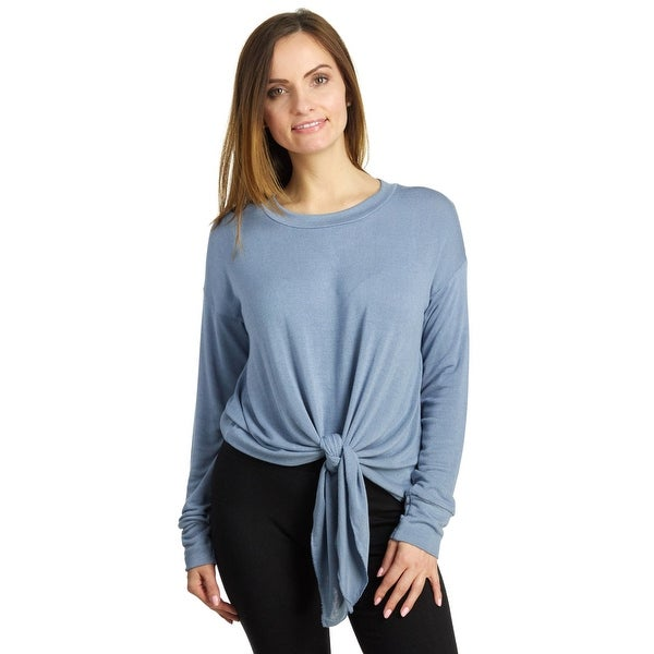21d0e0d86be Shop Elan Women's Long Sleeve Tie Front Sweater - Free Shipping On Orders  Over $45 - Overstock - 20303400