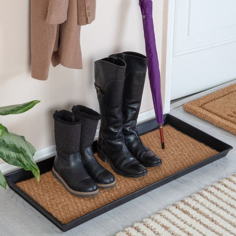 Jani Black Metal Boot Tray with Tan Coir Insert