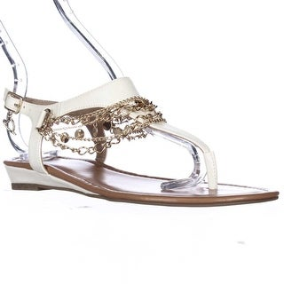 TS35 Lara Chain T-Strap Low Wedge Sandals - White Snake