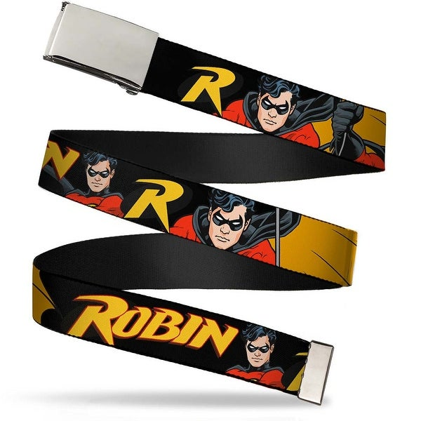 "Blank Chrome 1.0"" Buckle Robin Red Black Poses Black Webbing Web Belt 1.0"" Wide - S"