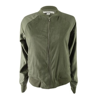 Kensie Women's Faux-Suede Bomber Jacket - New Olive