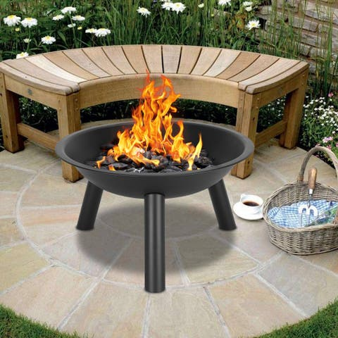 "22"" Iron Fire Pit Bowl Decoration for Backyard Black"
