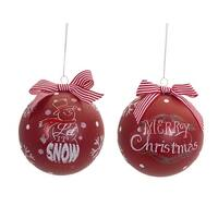 """Pack of 6 Red and White """"Merry Christmas"""" Holiday Ornaments with Bow 4.5"""""""