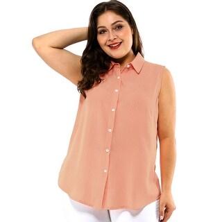 Women's Tie Waist Striped Plus Size Sleeveless Button Down Shirts