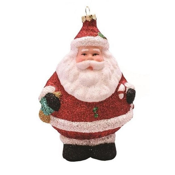 """5"""" Merry & Bright Red, White and Black Glittered Shatterproof Santa Claus Christmas Ornament"""