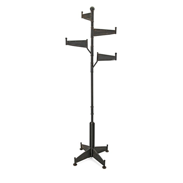 """IMAX Home 19238 Oscar 22-3/4"""" x 74"""" Iron Coat Rack with Swiveling Arms - Brown"""