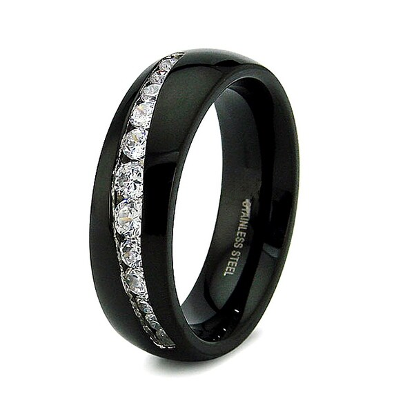 7mm Stainless Steel Black Plated Ring with 12 Channel Set CZs (Sizes 6-12)