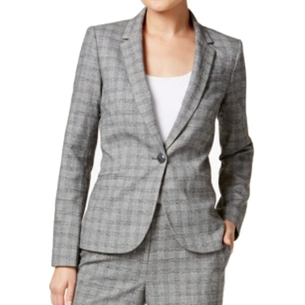 ed1cb630e Shop Tommy Hilfiger NEW Gray Womens Size 10 Notched-Lapel Plaid Blazer - Free  Shipping Today - Overstock - 20090637