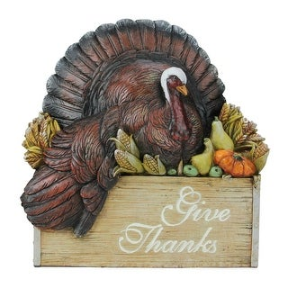 10.5 Joseph Studios Thanksgiving Turkey in a Crate Tabletop Decoration - Brown