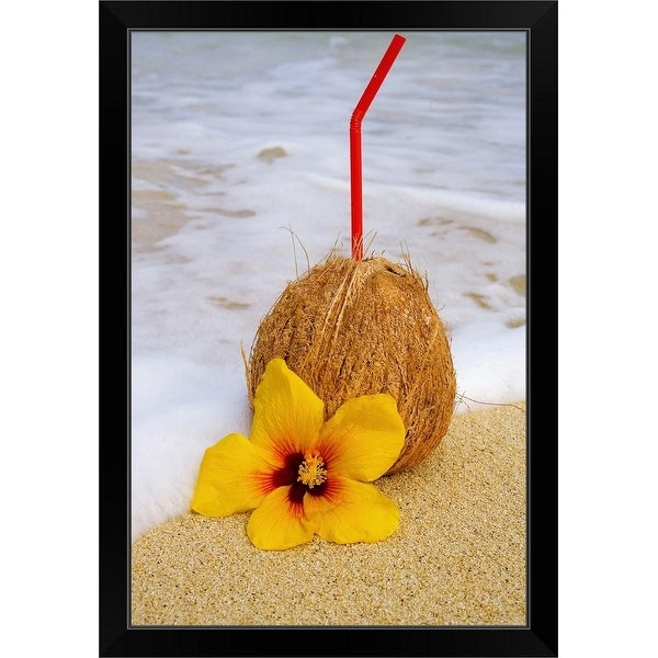 """""""A coconut drink with straw sticking out and flowers on a tropical beach."""" Black Framed Print"""
