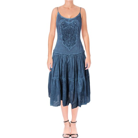 Lauren Ralph Lauren Womens Sundress Crochet Inset Tiered
