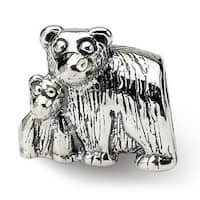 Sterling Silver Reflections Mama & Baby Bear Bead (4mm Diameter Hole)
