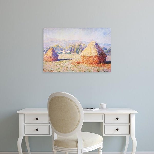 Easy Art Prints Claude Monet's 'Grainstacks in the Sunlight, Morning Effect' Premium Canvas Art