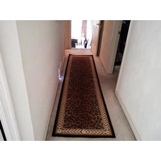 """Safavieh Hand-hooked Chelsea Leopard Brown Wool Rug - 2'6"""" x 10' Runner"""