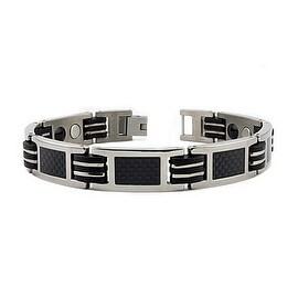 Titanium Men's Bracelet w/ Black Carbon Fiber Inlay & Magnet & Germanium 8.5 Inches