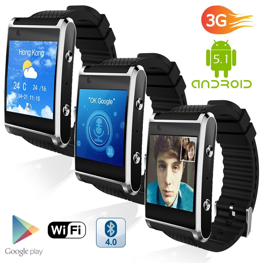 Indigi® 1.54-inch Bluetooth 4.2 Sync SmartWatch & Phone (3G Unlocked) w/ Notification Sync + Google Play Store - Thumbnail 0
