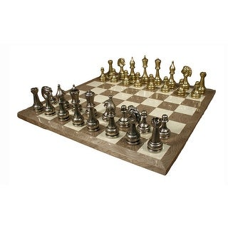 Large Metal Staunton Chess Set With Grey Briar Board - Multicolored