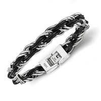 Chisel Stainless Steel Polished Genuine Leather Braided Bracelet