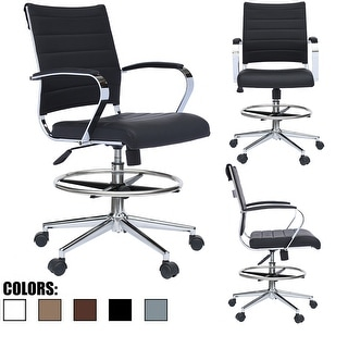 Black Chair With Arms Stools For Counter Height Bar Office Wheels PU Leather Rest Tilt Swivel Work Office Standing Desk Footrest