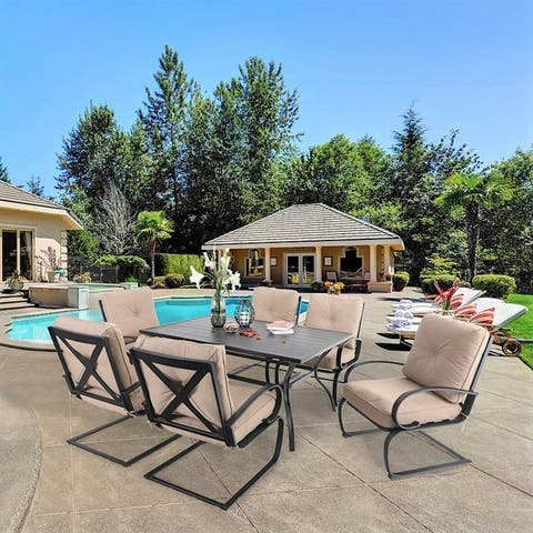 Sophia & William Metal Outdoor Patio Dining Sets 7 Pieces, 6 Spring Motion Chairs with Cushions and 1 Rectangular Metal Table
