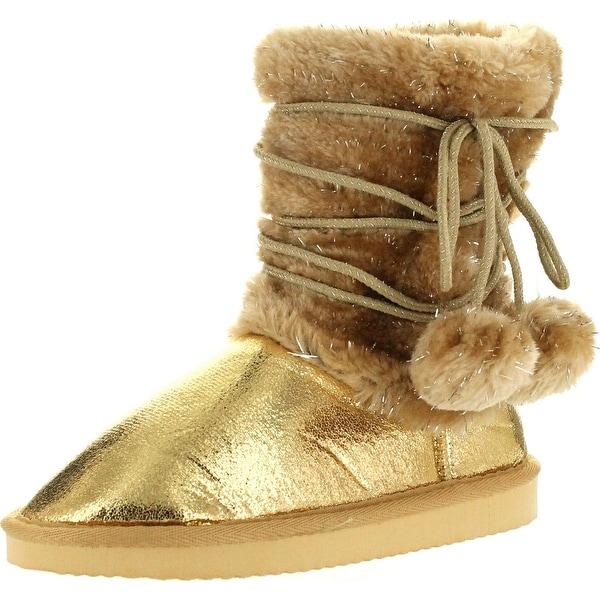 "Static Girls Fashion 6.5"" Metallic Winter Pom Pom Strap Boots"