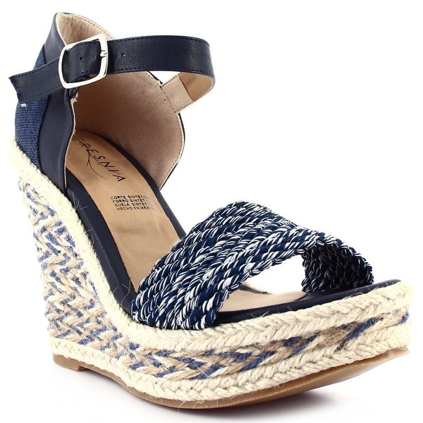 0164fcc38191 Shop Ceresnia Adult Blue Ankle Strap Closure Wedge Trendy Sandals ...