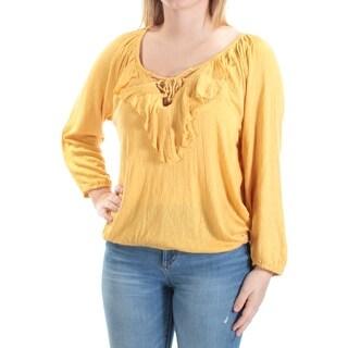 AMERICAN RAG $50 Womens New 1831 Yellow Tie Long Sleeve Scoop Neck Top S B+B
